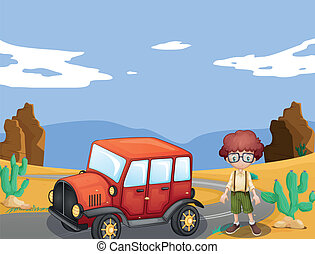 jeep and boy in nature - illustration of a jeep and boy in a...