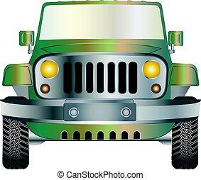 jeep, blå, främre del