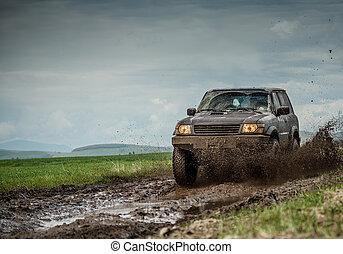 jeep, boueux