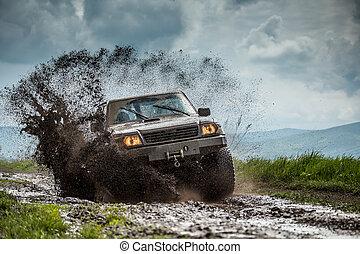 jeep, camino, de