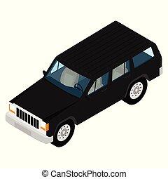 Jeep car icon. Isometric city transport.