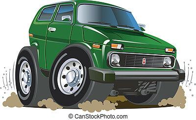 jeep, dessin animé