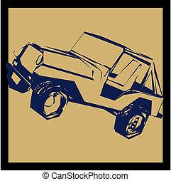 jeep, dessin animé, vecteur