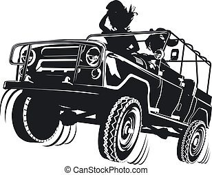 jeep detailed silhouette. Available EPS-8 vector format separated by groups and layers for easy edit