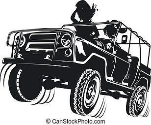 jeep, dettagliato, silhouette
