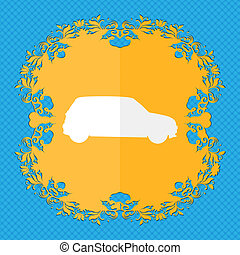 Jeep. Floral flat design on a blue abstract background with place for your text.