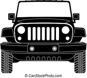 jeep, främre del, silhuett