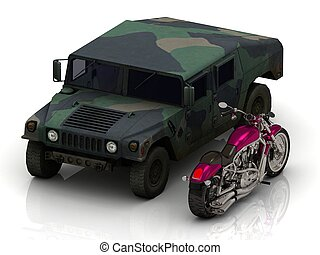 jeep heavy army and bright civil motorcycle