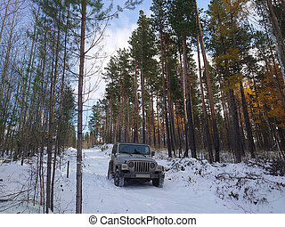 Jeep in the winter forest on a snowy road.