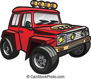 jeep., isolé, rouges, dessin animé