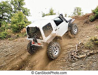 jeep, kørende, oppe, den, høj