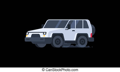 Jeep Metallic Color Rides. Transparent Background. Motion Graphics. Animation Video.