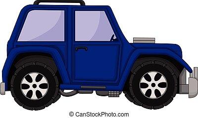 jeep, mignon, dessin animé, voiture
