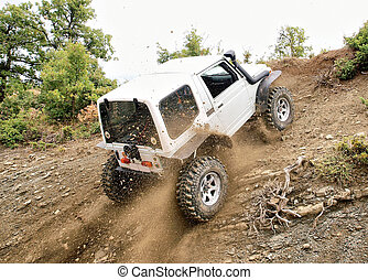 jeep, oppe, kørende, høj