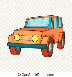 jeep, orange, style, dessin animé, icône