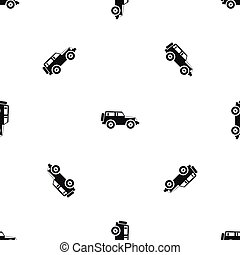 Jeep pattern repeat seamless in black color for any design. Vector geometric illustration