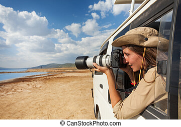 jeep, photo, prendre, fenêtre, safari, girl