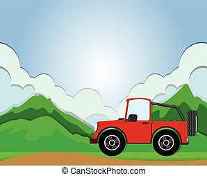 Jeep riding on the road