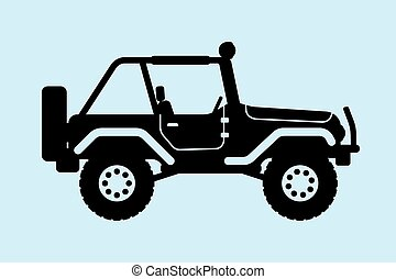 jeep, silhouette.