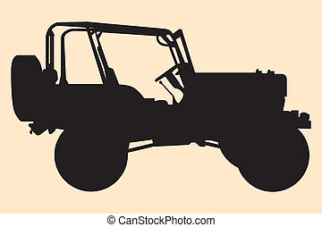 jeep, silhouette