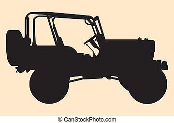 jeep, silueta