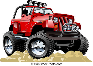 jeep, spotprent