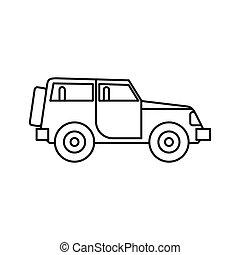 jeep, stile, contorno, icona