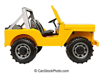 Jeep toy isolated on the white background