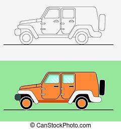 Jeep SUV vector illustration . Line art jeep