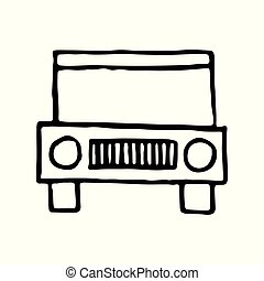 Jeep travel hand drawn outline doodle icon