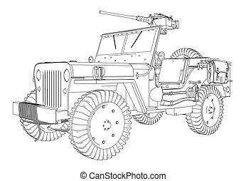 jeep, vektor, här