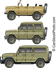 jeep, vettore, set