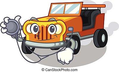 jeep, voiture, dessin animé, isolé, docteur