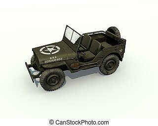 jeep, willys, isolé, 3d