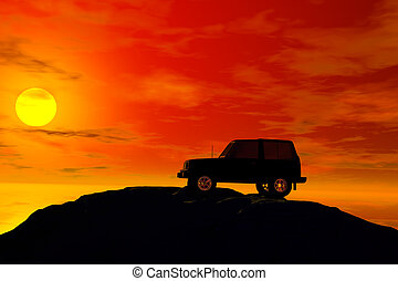 jeep with sunset - jeep silhouette with sunset behind