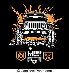 Jeep Wrangler - Suv car on black - elements for tshirt and emblem - vector set - 4x4 vehicle off-road car