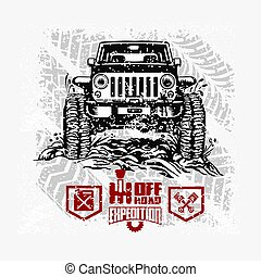 Jeep Wrangler - Suv car on white - elements for tshirt and emblem - vector set - 4x4 vehicle off-road car