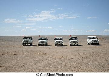 jeeps, en, el, desierto de gobi, dunhuang, china