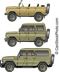 jeeps, vector, conjunto