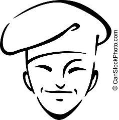jefe cocina chino, en, un, toque
