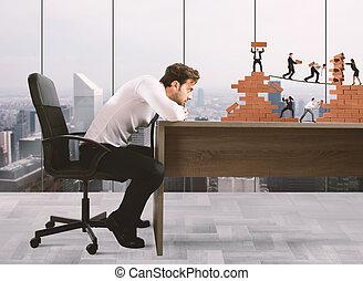 jefe, construye, equipo negocio