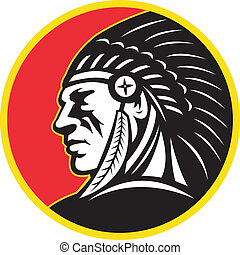 jefe, indio americano, lado, nativo
