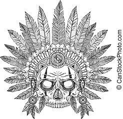 jefe, indio, cráneo