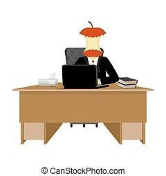 jefe, manzana, stump., director, cabo, de, mesa., ejecutivo, escritorio