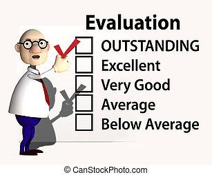 jefe, profesor, inspector, evaluación, rendimiento, cheque
