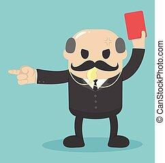 jefe, tarjeta, levantado, trabajo, rojo, grande, concepto, ...