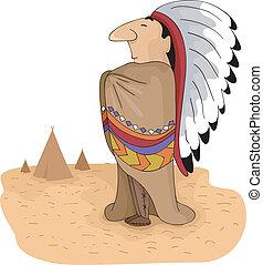 jefe, tribal, norteamericano, nativo
