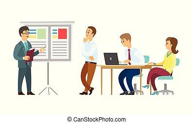 jefe, whiteboard, presentador, escuchar, trabajadores