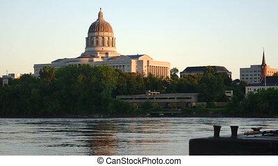 Jefferson City Missouri River Flow Reflection State Capital...