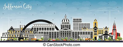 Jefferson City Missouri Skyline with Color Buildings and...